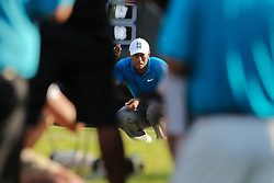 September 22, 2018 - Atlanta, Georgia, United States - Tiger Woods lines up a putt on the 17th green during the third round of the 2018 TOUR Championship. (Credit Image: © Debby Wong/ZUMA Wire)