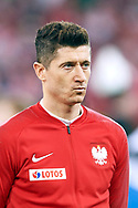 Chorzow, Poland - 2018 March 27: Robert Lewandowski from Poland listens national anthem before Poland v South Korea International Friendly Soccer match at Stadion Slaski on March 27, 2018 in Chorzow, Poland.<br /> <br /> Mandatory credit:<br /> Photo by © Adam Nurkiewicz / Mediasport<br /> <br /> Adam Nurkiewicz declares that he has no rights to the image of people at the photographs of his authorship.<br /> <br /> Picture also available in RAW (NEF) or TIFF format on special request.<br /> <br /> Any editorial, commercial or promotional use requires written permission from the author of image.