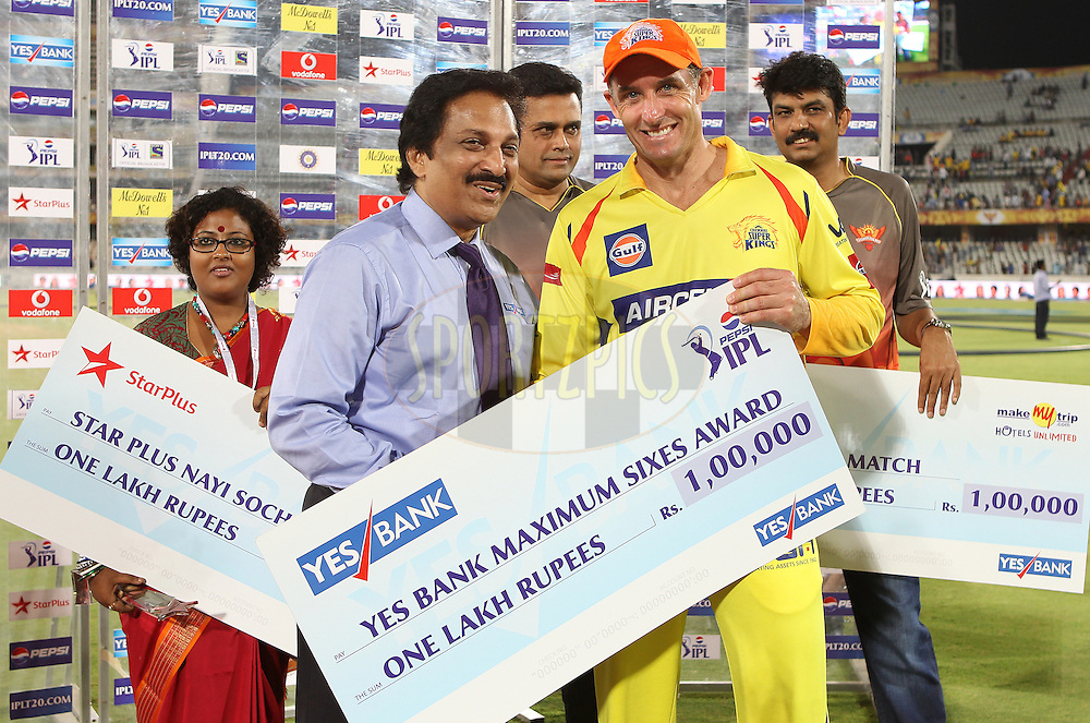 Michael Hussey wins the Yes Bank maximum sixes award during match 54 of the Pepsi Indian Premier League between The Sunrisers Hyderabad and Chennai Superkings held at the Rajiv Gandhi International  Stadium, Hyderabad  on the 8th May 2013..Photo by Ron Gaunt-IPL-SPORTZPICS ..Use of this image is subject to the terms and conditions as outlined by the BCCI. These terms can be found by following this link:..http://www.sportzpics.co.za/image/I0000SoRagM2cIEc
