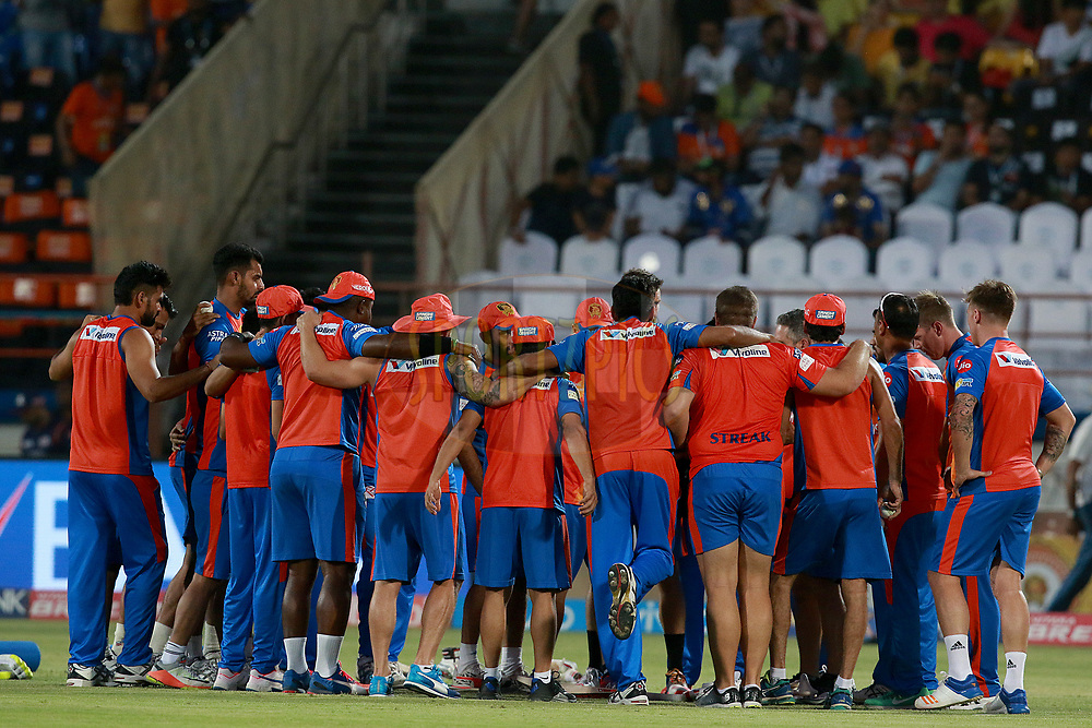 Team GL players before match 35 of the Vivo 2017 Indian Premier League between the Gujarat Lions and the Mumbai Indians  held at the Saurashtra Cricket Association Stadium in Rajkot, India on the 29th April 2017<br /> <br /> Photo by Rahul Gulati - Sportzpics - IPL