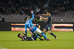 October 21, 2017 - Napoli, Napoli, Italy - Naples - Italy 21/10/2017.JOSE MARIA CALLEJON of  S.S.C. NAPOLI   and YUTO NAGATOMO  of  Inter  fights for the ball during Serie A  match between S.S.C. NAPOLI and Inter  at Stadio San Paolo of Naples. (Credit Image: © Emanuele Sessa/Pacific Press via ZUMA Wire)