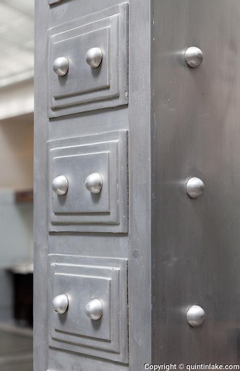 Decorative detail on column. Post Office Savings Bank, Vienna, Austria 1904-12 Architect: Otto Wagner