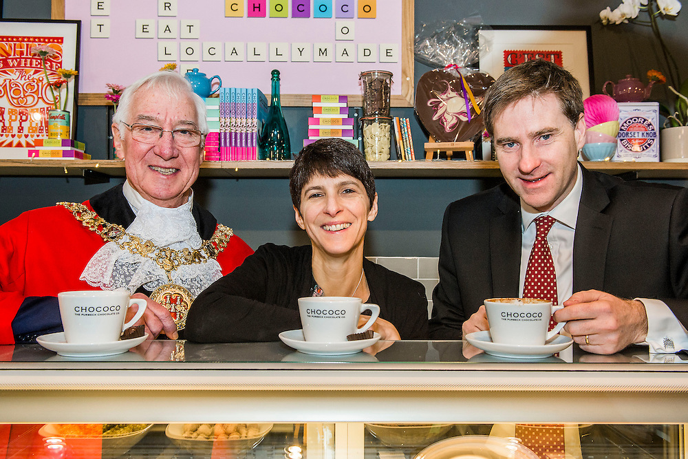 The new Winchester Chococo shop is opened by local MP, Steve Brine , and Mayor of Winchester, Ernie Jeffs -  with owners Claire and Andy Burnet and team. 152 Winchester High Street, Winchester, UK 30 January 2014. Guy Bell, 07771 786236, guy@gbphotos.com