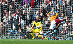 BIRMINGHAM, ENGLAND - Easter Sunday, March 31, 2013: Liverpool's goalkeeper Jose Reina makes a save from Aston Villa's Gabriel Agbonlahor during the Premiership match at Villa Park. (Pic by David Rawcliffe/Propaganda)