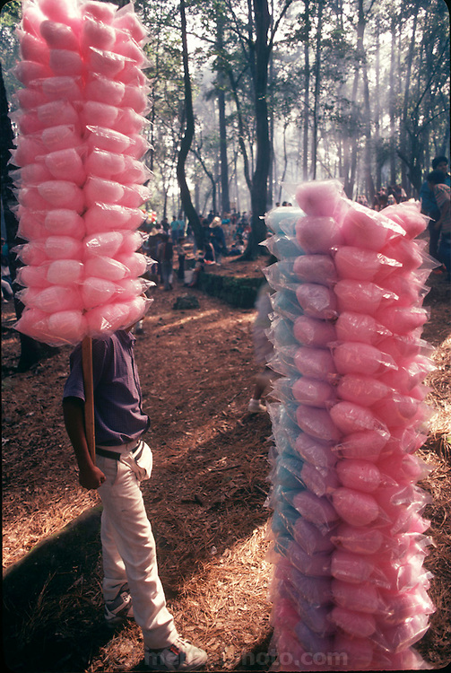 Cotton candy vendors walk around looking for buyers in Taxco, Mexico during the Jumil Festival (Flying Bedbug Festival) (Supporting image from the project Hungry Planet: What the World Eats and Man Eating Bugs: The Art and Science of Eating Insects.))
