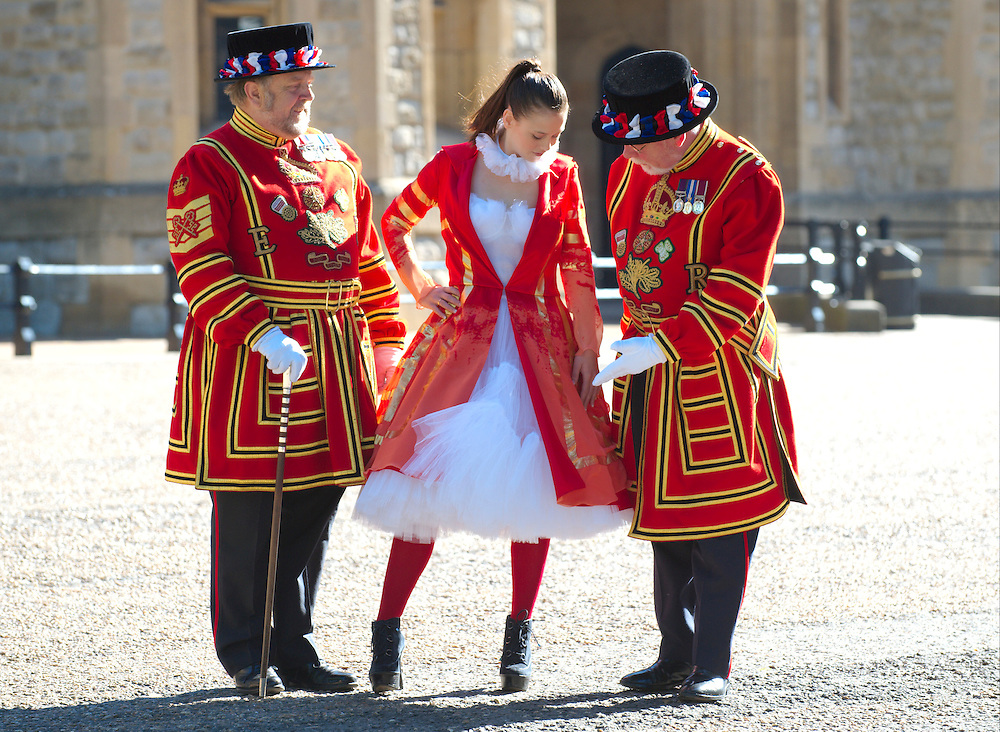 LONDON, ENGLAND - JUNE 02:  Poppy Toffman a fshion student with her design for a Female Beefeater at the Tower of London.  The Design Museum has helped to commission fashion students to reinterpret London's most iconic  and historic uniform on June 2, 2009 in London, England.  (Photo by Marco Secchi/Getty Images)