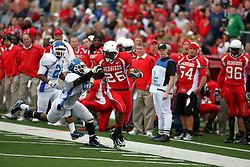 13 October 2007: Cortes Rice runs the sidelines while trying to shake off Chris Mobley. The Indiana State Sycamores were jacked 69-17 by the Illinois State Redbirds at Hancock Stadium on the campus of Illinois State University in Normal Illinois.