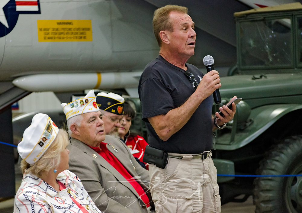 Veteran Richard Rydin shares stories of his VA experiences during the Mobile SWS Town Hall at USS Alabama Battleship Memorial Park in Mobile, Ala., on Friday, April 3, 2017. (Photo by Carmen K. Sisson/Cloudybright)