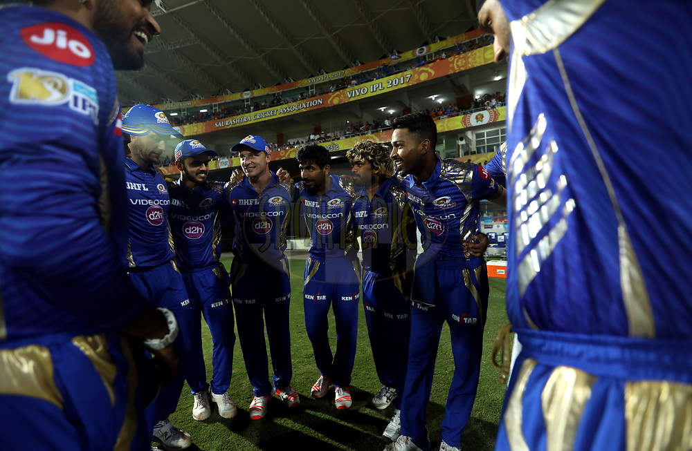 Mumbai Indians team huddle before the start of the match 35 of the Vivo 2017 Indian Premier League between the Gujarat Lions and the Mumbai Indians  held at the Saurashtra Cricket Association Stadium in Rajkot, India on the 29th April 2017<br /> <br /> Photo by Sandeep Shetty - Sportzpics - IPL