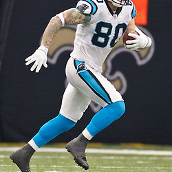 January 1, 2012; New Orleans, LA, USA; Carolina Panthers tight end Jeremy Shockey (80) runs after a catch during the first quarter of a game at the Mercedes-Benz Superdome. Mandatory Credit: Derick E. Hingle-US PRESSWIRE