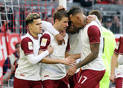 08.03.2020, Allianz Arena, Muenchen, GER, 1. FBL, FC Bayern Muenchen vs FC Augsburg, 25. Runde, im Bild Jubel nach dem 1:0 durch Thomas Müllervon links: Philippe Coutinho, Thomas Müller und Jerome Boateng // during the German Bundesliga 25th round match between FC Bayern Muenchen and FC Augsburg at the Allianz Arena in Muenchen, Germany on 2020/03/08. EXPA Pictures © 2020, PhotoCredit: EXPA/ SM<br /> <br /> *****ATTENTION - OUT of GER*****