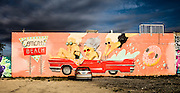 Mural in Wynwood by Barcelona-based Marina Capdevila features a pink Cadillac
