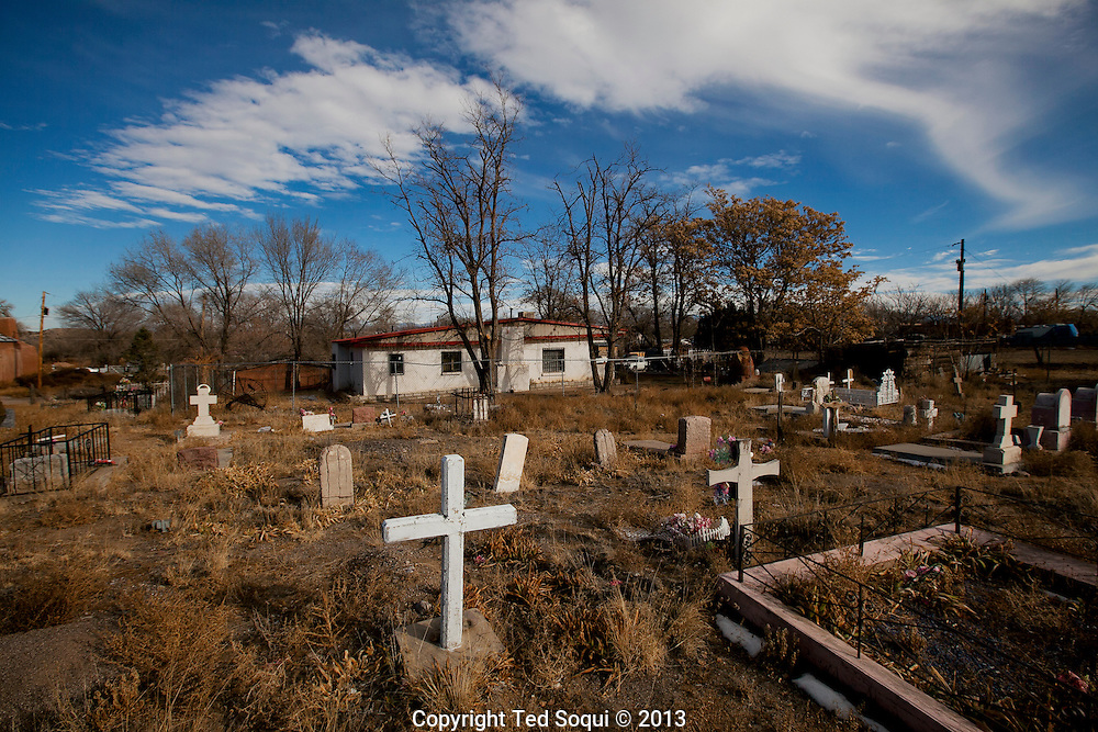 "Winter in New Mexico..The church graveyard which photographer Ansel Adams made famous in his iconic photograph ""Moonrise Over Hernandez."""