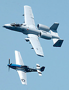 "An A-10 ""Warthog"" and a World War II era P-51 ""Mustang"" fly together during the 2008 National Cherry Festival airshow in Traverse City, Michigan."