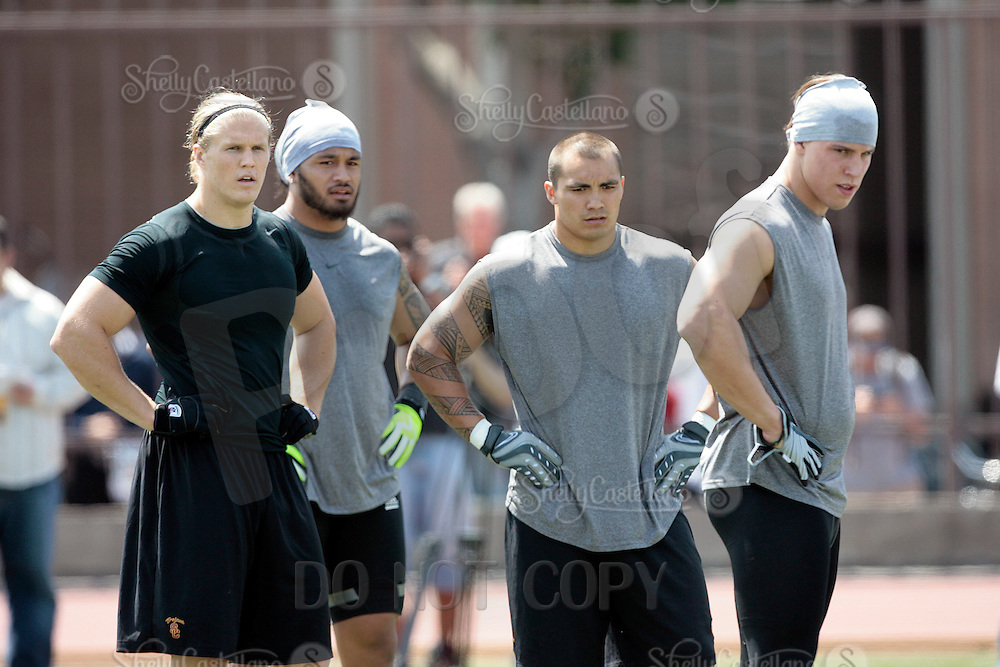 1 April 2009: Linebackers Clay Matthews, Kaluka Maiava, Brian Cushing and Rey Maualuga together during the 2009 USC Trojans NFL Pro Timing Day at Cromwell Field on The University of Southern California campus.  Pro football scouts, personnel directors, coaches, agents and front office executives spent three hours with former college players who have chosen to enter the 2009 NFL draft.....