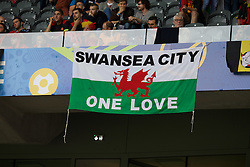 "LILLE, FRANCE - Friday, July 1, 2016: Wales supporters banners ""Swansea City One Love"" ahead of the UEFA Euro 2016 Championship Quarter-Final match against Belgium at the Stade Pierre Mauroy. (Pic by Paul Greenwood/Propaganda)"