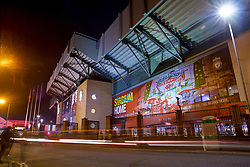LIVERPOOL, ENGLAND - Tuesday, December 11, 2018: An exterior view of Liverpool's Spion Kop stand pictured before the UEFA Champions League Group C match between Liverpool FC and SSC Napoli at Anfield. (Pic by David Rawcliffe/Propaganda)