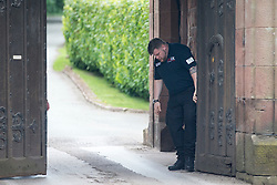 © Licensed to London News Pictures. 25/05/2016. Peckforton UK. Picture shows added security on the gates of Peckforton Castle. Leicester city footballer Jamie Vardy is to mary Becky Nicholson today at Peckforton Castle in Cheshire today. Photo credit: Andrew McCaren/LNP