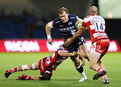 Will Addison of Sale Sharks is tackled by Billy Burns of Gloucester Rugby  - Mandatory by-line: Matt McNulty/JMP - 16/09/2016 - RUGBY - Heywood Road Stadium - Sale, England - Sale Sharks v Gloucester Rugby - Aviva Premiership
