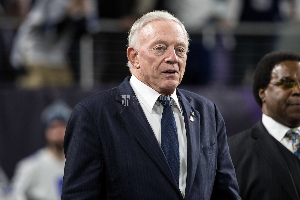 Dec 1, 2016; Minneapolis, MN, USA; Dallas Cowboys owner Jerry Jones during a game between the Dallas Cowboys and Minnesota Vikings at U.S. Bank Stadium. The Cowboys defeated the Vikings 17-15. Mandatory Credit: Brace Hemmelgarn-USA TODAY Sports