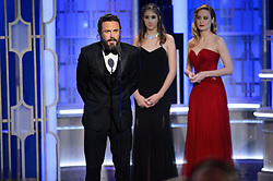 Jan 8, 2017 - Beverly Hills, California, U.S - Actor CASEY AFFLECK accepts the Golden Globe Award for Best Performance By An Actor In A Motion Picture ? Drama for his role in 'Manchester by the Sea' at the 74th Annual Golden Globe Awards at the Beverly Hilton in Beverly Hills. (Credit Image: ? HFPA/ZUMAPRESS.com)