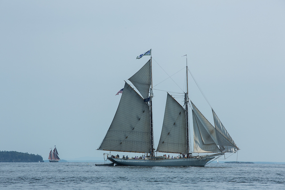 Camden, ME - 11 August 2014. The schooner Mary Day leaving Camden with a deck full of tourists.