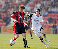 Photo: Leigh Quinnell.<br /> AFC Bournemouth v Swansea City. Coca Cola League 1. 14/04/2007. Swanseas Darryl Duffy can't get a grip of Bournemouths Darren Anderton.