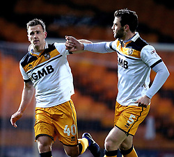 Ryan Taylor of Port Vale celebrates with Kjell Knops of Port Vale after scoring a goal from a penalty to make it 2-1 - Mandatory by-line: Robbie Stephenson/JMP - 20/01/2017 - FOOTBALL - Vale Park - Stoke-on-Trent, England - Port Vale v Bury - Sky Bet League One