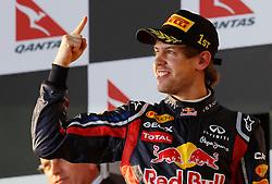 FORMEL 1: GP von Australien, Melbourne, 27.03.2011<br />Jubel von Sieger Sebastian VETTEL (GER, Red Bull Racing)<br />� pixathlon *** Local Caption *** +++ www.hoch-zwei.net +++ copyright: HOCH ZWEI +++