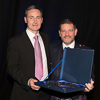 St Johnstone FC Hall of Fame Dinner, Perth Concert Hall….03.04.16<br />Chairman Steve Brown with Hall of Fame Inductee Dougie Barron<br />Picture by Graeme Hart.<br />Copyright Perthshire Picture Agency<br />Tel: 01738 623350  Mobile: 07990 594431