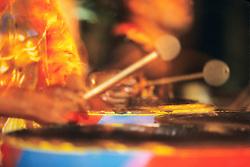 Caribbean, Grenada, hands of musician playing steel drum