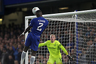 Antonio Rudiger of Chelsea scores his teams 1st goal. <br /> EFL Carabao Cup 4th round match, Chelsea v Everton at Stamford Bridge in London on Wednesday 25th October 2017.<br /> pic by Kieran Clarke, Andrew Orchard sports photography.