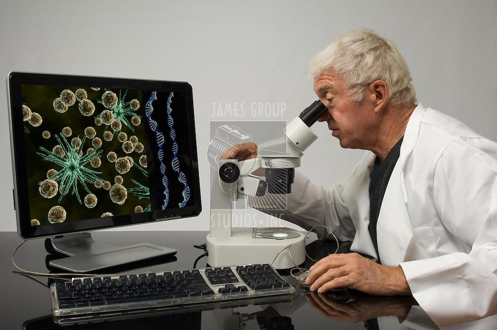 Senior genetic engineer using a microscope
