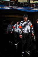 KELOWNA, CANADA - JANUARY 18: Referees Steve Papp and Brett Iverson walk to the ice at the Kelowna Rockets against the Moose Jaw Warriors on January 18, 2017 at Prospera Place in Kelowna, British Columbia, Canada.  (Photo by Marissa Baecker/Shoot the Breeze)  *** Local Caption ***