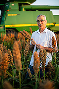 Oklahoma Secretary of Agriculture Jim Reese on his farm north of Nardin, OK during sorghum harvest for Oklahoma Living Magazine