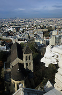 France. Paris. elevated view on the Sacre Coeur. View on Montmartre and the abatiale  from the Sacre Coeur dome.