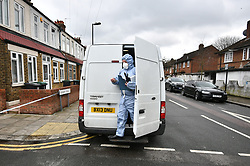 © Licensed to London News Pictures. 03/04/2018. London, UK. A police search team at the scene in Chalgrove Road, Tottenham, north London after a 17 year old girl was shot dead. The girl was found with a bullet wound and pronounced dead at the scene at 21:43 last night. Photo credit: Ben Cawthra/LNP