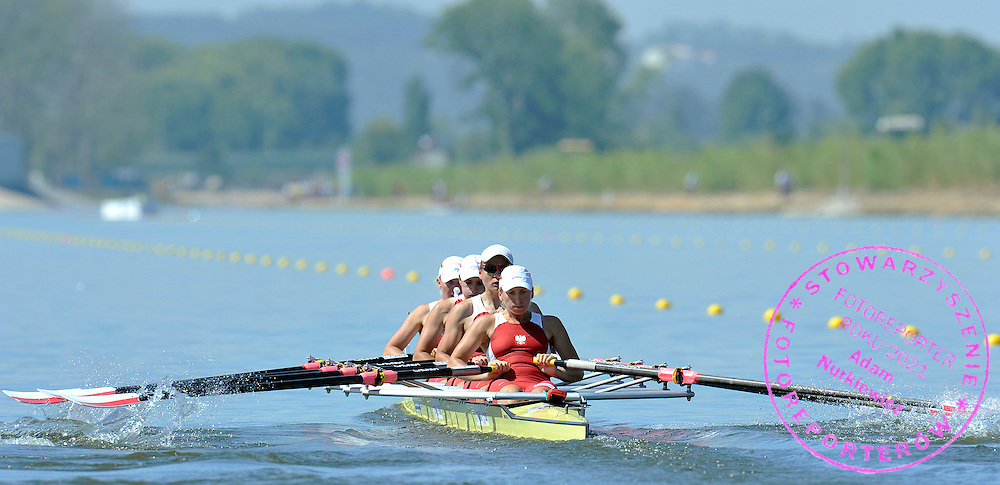 (BOW) AGNIESZKA KOBUS & KAROLINA GNIADEK & AGATA GRAMATYKA & NATALIA MADAJ (ALL POLAND) COMPETE IN WOMEN'S QUADRUPLE SCULLS DURING REGATTA EUROPEAN ROWING CHAMPIONSHIPS IN MONTEMOR-O-VELHO, PORTUGAL...PORTUGAL , MONTEMOR-O-VELHO , SEPTEMBER 10, 2010..( PHOTO BY ADAM NURKIEWICZ / MEDIASPORT ).