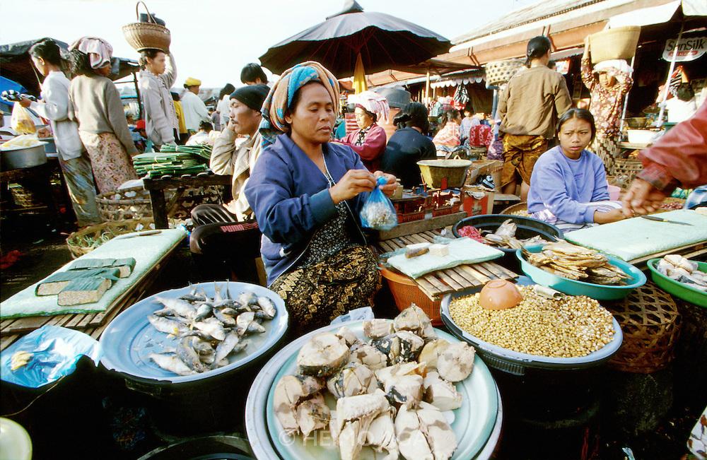 Market at Baturiti near Lake Bratan. Chunks of marinated Tuna.