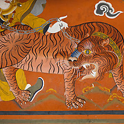 Wall paintings, Ta Dzong, Paro, Bhutan, Asia