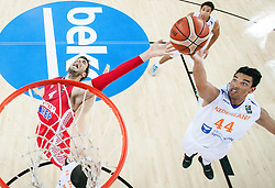 Ante Tomic of Croatia vs Arvin Slagter of Netherlands during basketball match between Netherlands and Croatia at Day 5 in Group C of FIBA Europe Eurobasket 2015, on September 9, 2015, in Arena Zagreb, Croatia. Photo by Vid Ponikvar / Sportida