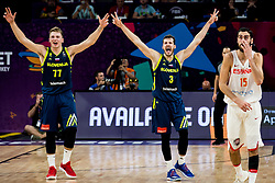 Luka Doncic of Slovenia and Goran Dragic of Slovenia reacts during basketball match between National Teams of Slovenia and Spain at Day 15 in Semifinal of the FIBA EuroBasket 2017 at Sinan Erdem Dome in Istanbul, Turkey on September 14, 2017. Photo by Vid Ponikvar / Sportida