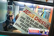 Frankfurt | 25 February 2017<br /> <br /> Plakat &quot;Jesus Christus - ich bin der Weg...&quot; in einer U-Bahn in Frankfurt am Main.<br /> <br /> photo &copy; peter-juelich.com