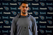 Tennessee Titans Marcus Mariota QB (8) during the Tennessee Titans pre-match press conference at Syon House, Brentford, United Kingdom on 19 October 2018.