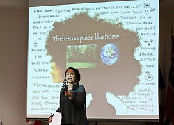 Dr. Carolyn Finney lecturing in the Scandinavian Cultrual Center at PLU for Earth Day on Tuesday, April 21, 2015. (Photo: John Froschauer/PLU)