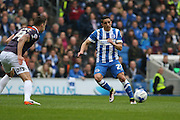 Brighton striker, Anthony Knockaert (27) takes on Derby County defender Jason Shackell (14) during the Sky Bet Championship match between Brighton and Hove Albion and Derby County at the American Express Community Stadium, Brighton and Hove, England on 2 May 2016. Photo by Phil Duncan.