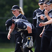 New Zealand wicket keeper Rachel Priest is hit in the face by the ball, Priest received attention off the field before returning during the match between England and New Zealand in the Super 6 stage of the ICC Women's World Cup Cricket match at Bankstown Oval, Sydney, Australia on March 14 2009, England won the match by 31 runs. Photo Tim Clayton