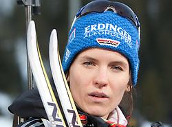 09.12.2011, Biathlonzentrum, Hochfilzen, AUT, E.ON IBU Weltcup, 2. Biathlon, Podium Damen 7,5km Sprint, im Bild Kathrin Hitzer (GER) gibt bekannt das sie im 3 Monat Schwnager ist // Kathrin Hitzer of Germany after women 7.5km Sprint at E.ON IBU Worldcup 2th Biathlon, Hochfilzen, Austria on 2011/12/09. EXPA Pictures © 2011, PhotoCredit: EXPA/ Johann Groder