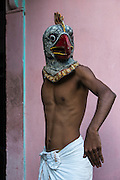 Bird mask for Raas festival<br /> Mising Tribe (Mishing or Miri Tribe)<br /> Majuli Island, Brahmaputra River<br /> Largest river island in India<br /> Assam,  ne India
