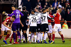 Derby County and Nottingham Forest players fight - Mandatory by-line: Robbie Stephenson/JMP - 25/02/2019 - FOOTBALL - The City Ground - Nottingham, England - Nottingham Forest v Derby County - Sky Bet Championship